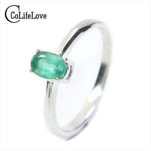 Promoción Natural Emerald anillo de bodas para mujer 0.4 Ct 4mm * 6mm Natural I Grade Emerald Solid 925 Silver Emerald Gemstone Ring Y19061003