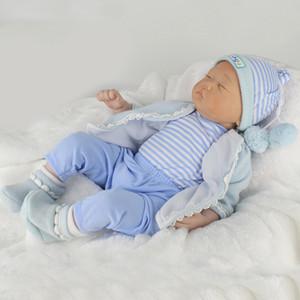 Çocuklar için Bebek Uyku 22inch Çok güzel Yenidoğan Erkek Bebek Bebekler, Silikon Tüm Vücut Reborn