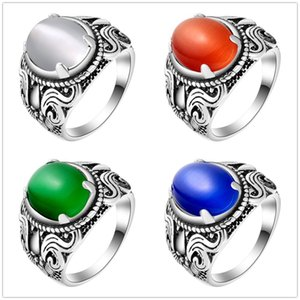 Exquisite Luxury Ring For Women Vintage Look Antique Silver Plated Personality Fashion Jewelry Flower Band Oval Opal Rings