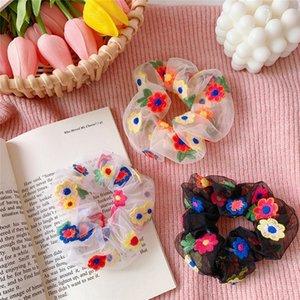 Yeni stil kalın bağırsak saç-ilmeği Net Süper peri kafa halat örgü ipliği çiçek Saç Bandı Moda şifon saç aksesuarları T9I00331 kırmızı