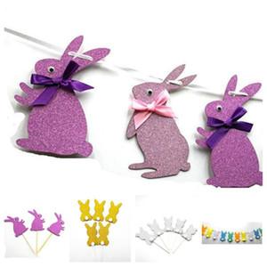 Paskalya Çekme Bayrak Çekme Çiçek Bunting Kart Dekorasyon Parti Akıllı Gözler Paskalya Tavşanı bayrağı Düzeni Paskalya Süslemeleri T2G5069
