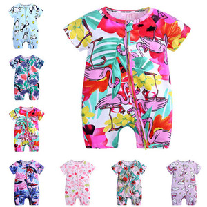 Yüksek kaliteli çocuklar tasarımcı giyim pamuk bebek bebek erkek giysileri yaz kısa kollu tulum yenidoğan bebek kız hayvan giydirin