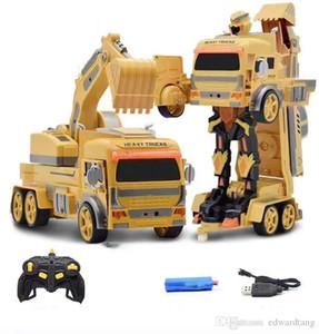 RC Transformation Car Robot Model Toy, Air gestual Excavator, Concrete Truck, Dump Truck, Dance, Sound Lights, Tanal Kid Birthday Gift