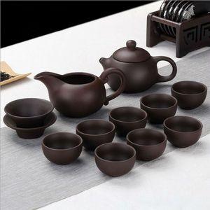 Di alta qualità fatto a mano Viola argilla Kung Fu Tea Set Teiera Drinkware Tea Pot Cup Set, Yixing ceramica puer cinese Teaset bollitore