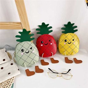 Cute Cartoon Pineapple Baby Girls Crossbody Bags PU Leather Lovely Children Coin Purse Boys Kids Gift Mini Wallet Shoulder Bags