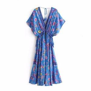 Kadın Giyim Kadın Tasarımcısı Elbise Şık Moda Kadınlar Baskı Lace Up Plaj Uzun Bohemian elbise Bayanlar Rayon Püskül Yaz Boho Elbise