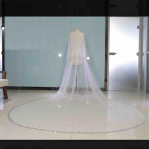 Два слоя, Bling Bling Crystal Bridal вуаль два слоя 2021 с расческа Формальные свадебные женские волосы аксессуары для волос лица вуаль