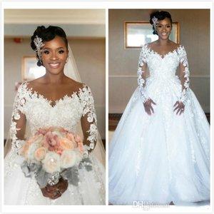 Árabe Renda Vestidos de casamento apliques Vintage Jewel Sheer Neck ver embora Vestidos mangas compridas nupcial de alta qualidade barato vestidos de casamento