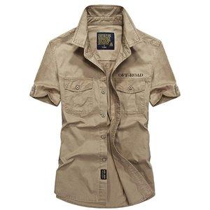 2019 al aire libre hombres camisas manga corta tamaño respirable de Plus S-4XL verano 100% algodón acampa de los deportes de escalada Tácticas camisas del Ejército