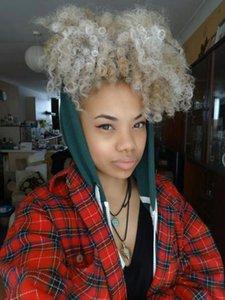 волосы platinm Мода Womenl блондин серый слоеного кудрявый хвостик наращивание волос клип в Remy курчавые шнурок хвостики седые волосы кусок