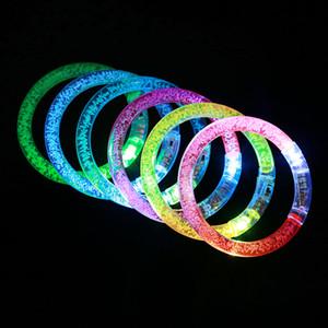 LED Glitter braccialetto di incandescenza Flash Light Stick cristallo acrilico Gradient mano anello braccialetto creativo festa di Natale fornisce Kid Giocattolo DBC VT0947