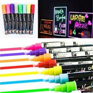6MM Dual Nib Fluorescent Highlighter Wet Liquid Chalk Neon Marker Pen Dry Eras Highlighters 24pcs lot
