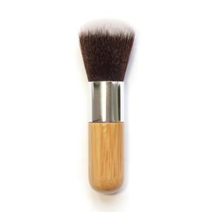 Mango de madera de maquillaje Fundación el cepillo plano de bambú Mango tapa redonda cepillo suave multifunción Base de Maquillaje Brocha Rubor Herramientas RRA996