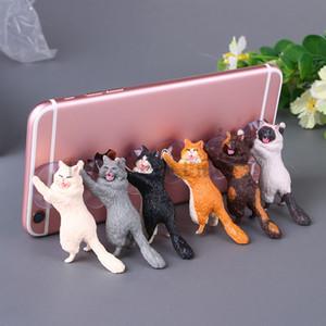 Phone Holder Cat mignon Accessoires Support Résine téléphone portable Support à tablettes Sucker Bureau Figurines Sucker Holder Doll Smartphone
