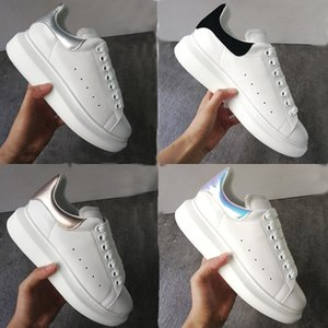 Men Women Platform Shoes Oversized Sneakers Smooth 100% Calfskin Leather Fashion White Lace-up Trainers Big Rubber Sole with New Box