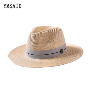 Ymsaid Sommer beiläufige Sonnenhüte für Frauen arbeiten Buchstaben M Jazz Stroh für Mann Strand Sonne Stroh Panamahut Groß- und Kleinhandel Y200602