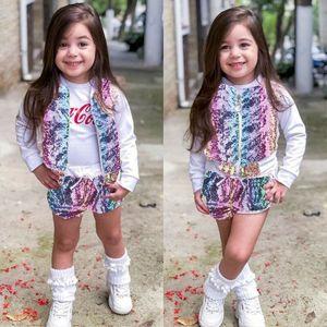 Camisola Outfits Sequins pulôver 2PCS Crianças Baby Girl 1T-T7 queda Tops Shorts Roupas