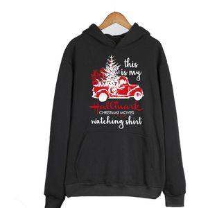 luva longa das mulheres TruckLetter Imprimir com o Velvet Sweatshirt, Moda moletom com capuz para senhora, Christmas Dress Up