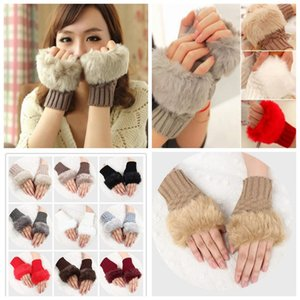 Women Girl Knitted Faux Rabbit Fur Gloves Mittens Winter Arm Length Warmer Outdoor Fingerless Gloves Colorful Christmas Gifts ZZA1329 120PCS