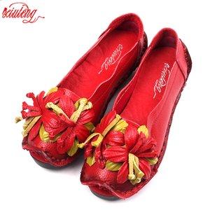 Xiuteng New Flowers National Wind main Chaussures en cuir véritable rétro femme souple Bas Chaussures plates Été Toile Ballerines CJ191217