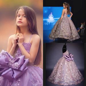 Lavanta Big Bow Çiçek Kız Elbise Dantel Boncuklu Balo Sevimli Spagetti Aplike Kız Parti Doğum Yarışması Elbise