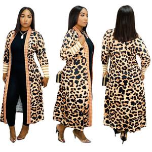 Hot Leopard gedruckte Frauen Lange Trench Coats Mode mit langen Ärmeln V-Ausschnitt Cardigan Mitte Kalb Dame Casual Mantel Outwear Frühling und Herbst