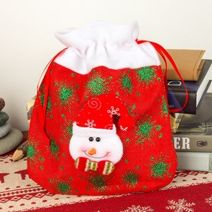 Christmas Gift Bags Drawstring Linen Stockings Candy Holder Treat Bags