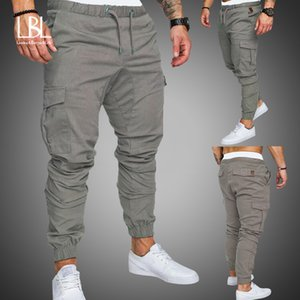 Autumn Men Pants Hip Hop Harem Joggers Pants 2019 New Male Trousers Mens Solid Multi-pocket Cargo Pants Skinny Fit Sweatpants Y200601