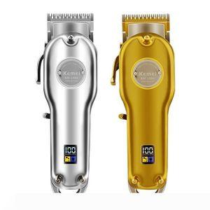 Yeni Tasarımcı Tümü metal Barber Profesyonel Saç Kesme Elektrikli Şarjlı LCD Saç Kesme Altın Gümüş Saç Makinesi KM-1986 1987 Kesme