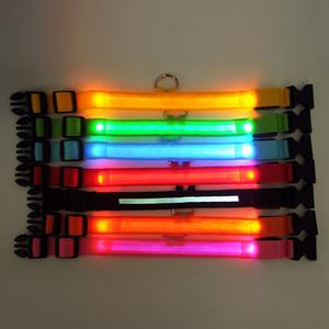 Collare per cani da compagnia in nylon a LED Chargable, sicurezza notturna Guinzaglio per cani da bagliore luminoso, collari luminosi fluorescenti per cani Articoli per animali domestici
