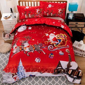 Feliz Natal 3D Set cama capa de edredão vermelho de Papai Noel Consolador da cama ajustado Gifts EUA Tamanho Rainha Rei