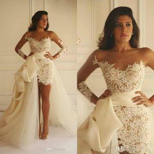 Wedding Dresses Jumpsuits With Detachable Train Sheer Bateau Neck Illusion Long Sleeves Ruffle Bridal Gowns Custom Made Abiti Da Sposa