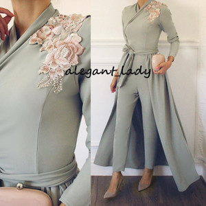Long Sleeves Muslim Evening jumpsuit with train 2019 vestidos de gala Appliques Satin A-Line Pants Prom Dress Formal Party Gowns