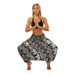 2019 mulheres da moda nova Euro-Americano Desgaste das Mulheres Étnica Vento Stripe Impresso Loose-legged Lanterna Loose Yoga Pants