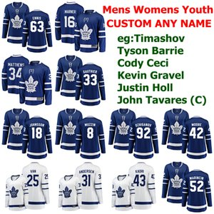Toronto Maple Leafs jerseys para mujer Dmytro Timashov Jersey Tyson Barrie Cody Ceci Kevin grava Justin Holl jerseys del hockey personalizada cosido