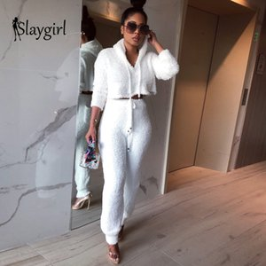 Slaygirl Sexy 2 Piece Set Women 2019 Winter Casual Solid Streetwear Matching Sets Outfit Two Piece Set Elegant Female Pants
