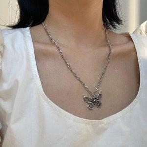 Ожерелье цепи нержавеющей стали бабочка для женщин Мода Bowknot Choker ожерелье Night Club Hip Hop Ювелирные Девочек