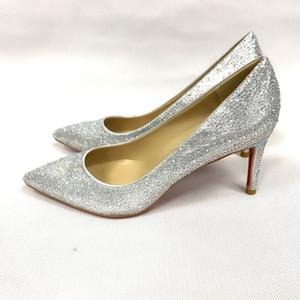 Designer de sapatos de strass prata sapatos de casamento de ouro Sexy dedo apontado salto alto deslizamento em stiletto bombas sapatos básicos