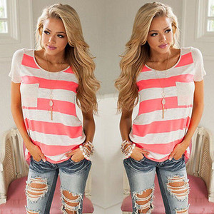 Summer 2016 American Appeal Big Size Casual Striped T Shirt Women Short Sleeve Slim T-Shirt Tops For Women Clothing Plus Size