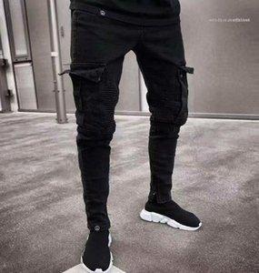 진 연필 바지 병력 Pantalones 남성 의류 패션 남성 디자이너 청바지 블랙 찢어진 고민 구멍 디자인 포켓
