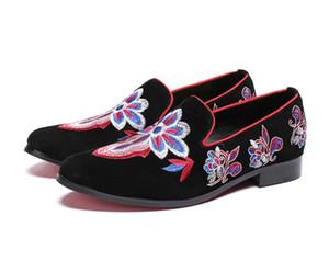New Vintage Floral Stickerei Männer Kleid Schuhe Britischen Stil Wildleder Männer Müßiggänger Party Freizeitschuhe Slip On Größe 38-46