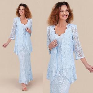 2020 Sky Light Madre elegante del cordón azul de la novia con mangas largas chaquetas de fiesta de la boda vestido formal