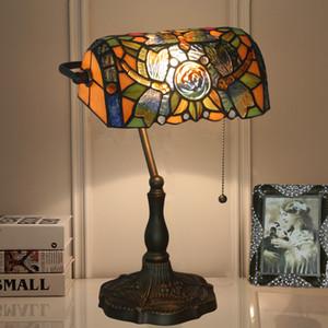 Yeni Tiffany Bankası Masa Lambası Vitray Dragonfly American Vintage Ofis Çalışma Masası Lambası fermuar ile ışık H39cm geçiş