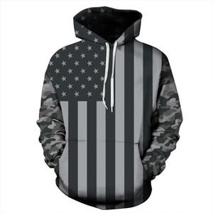 USA sudaderas con capucha de las mujeres en 3D Sudaderas Imprimir rayas Estrellas bandera de América con capucha sudaderas chándales Pullover más el tamaño XXXL