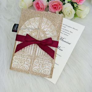 Роскошные свадебные приглашения Rose Gold Glitter Laser Cut Пригласительные билеты для девичника Обручальное Замок Quinceanera Выпускной Приглашает