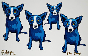# A134 George Rodrigue Blue Dog Take All Of Me Home Decor pintado a mano de la impresión de HD pintura al óleo sobre lienzo de arte cuadros de la pared de lona 200117