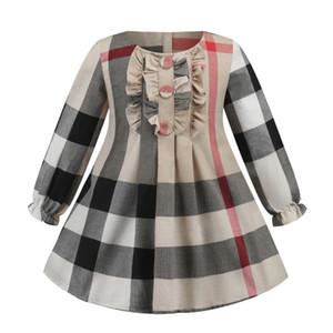 Plaidkleid 2020 neue Stile Herbst Mädchen britische Art-langärmliges Baumwollbabykind groß kariertes beiläufiges Spitzenkleid