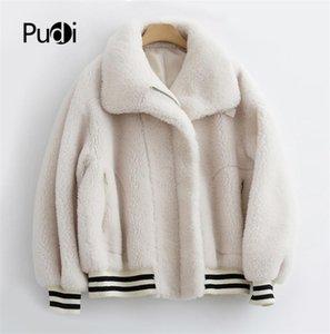 Aorice women winter real wool fur coat jacket female girl sheep shearing fur coats parka V2008