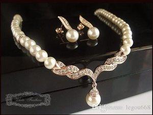 Rose Gold Gelin Takı Setleri Krem Sahte Pearl Rhinestone Kristal Diamante Düğün kolye ve Küpe