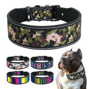 Reflektierende Nylon Hundehalsband Neopren gepolsterte Hundehalsbänder Für Medium Large Hunde Pitbull Deutscher Schäferhund S M L